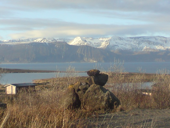 Early spring. The cottages in Husavik North Iceland