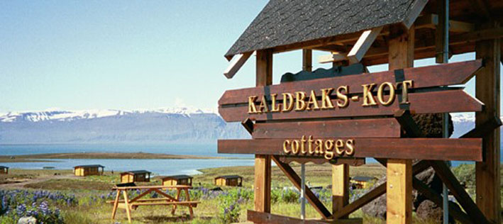 Entering Kaldbaks-kot cottages Husavik